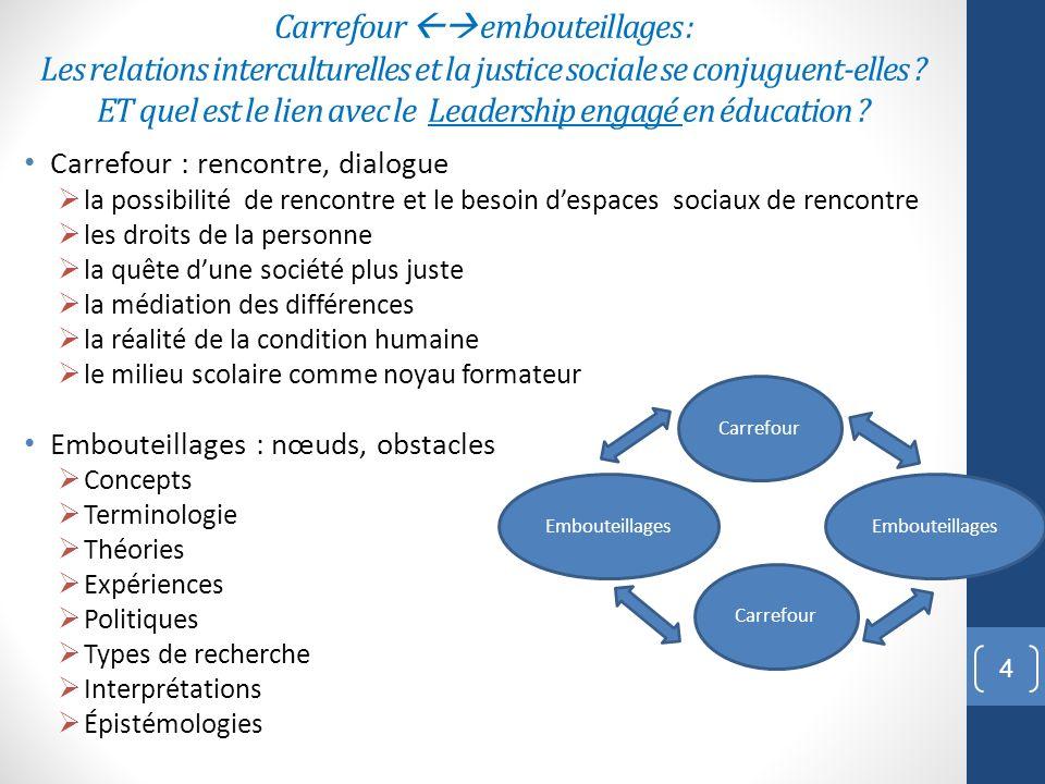 Carrefour  embouteillages : Les relations interculturelles et la justice sociale se conjuguent-elles ET quel est le lien avec le Leadership engagé en éducation