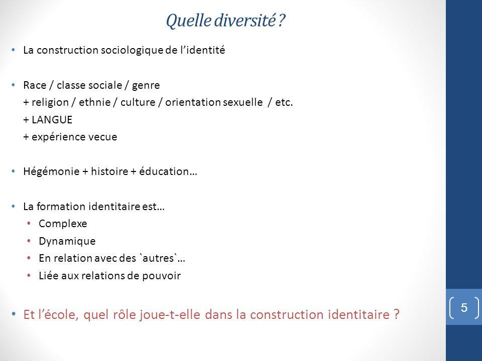 Quelle diversité La construction sociologique de l'identité. Race / classe sociale / genre.