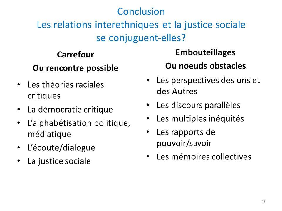Conclusion Les relations interethniques et la justice sociale se conjuguent-elles