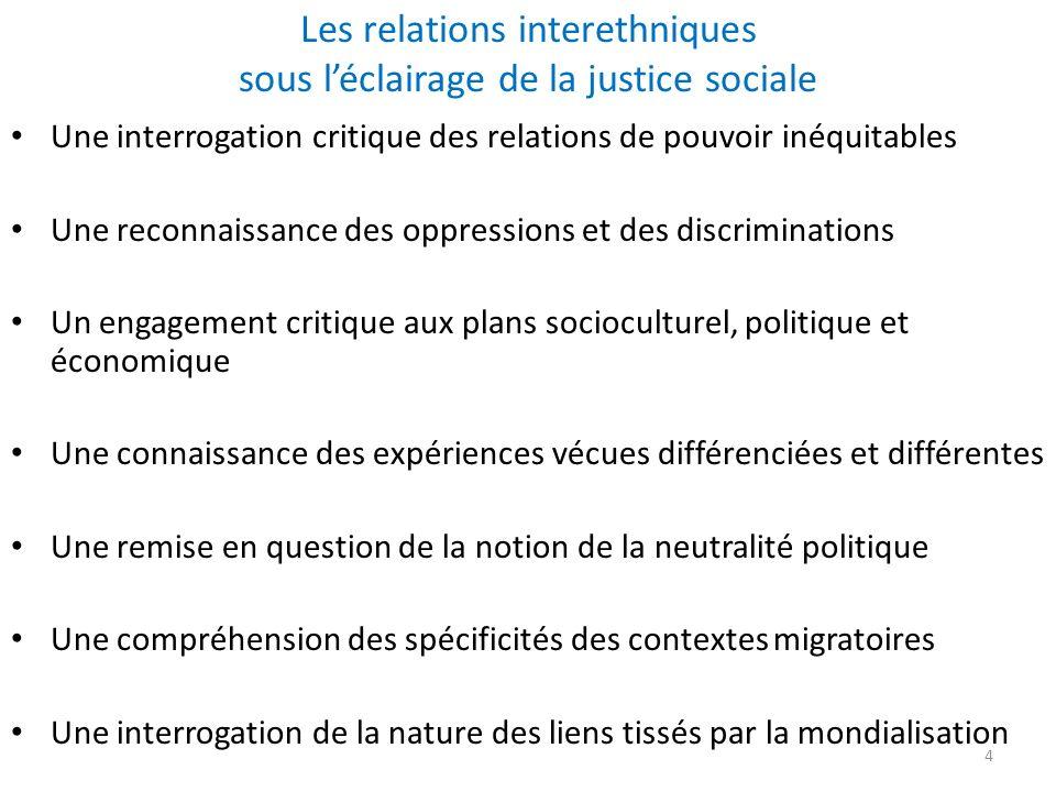 Les relations interethniques sous l'éclairage de la justice sociale