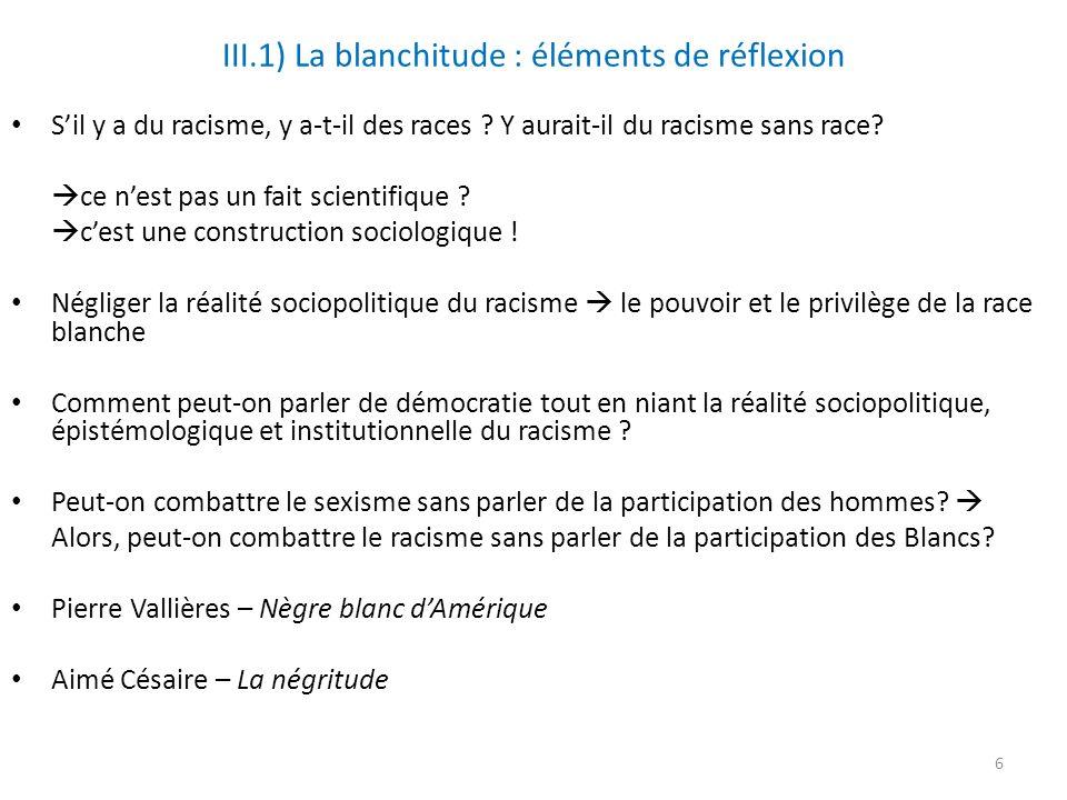 III.1) La blanchitude : éléments de réflexion