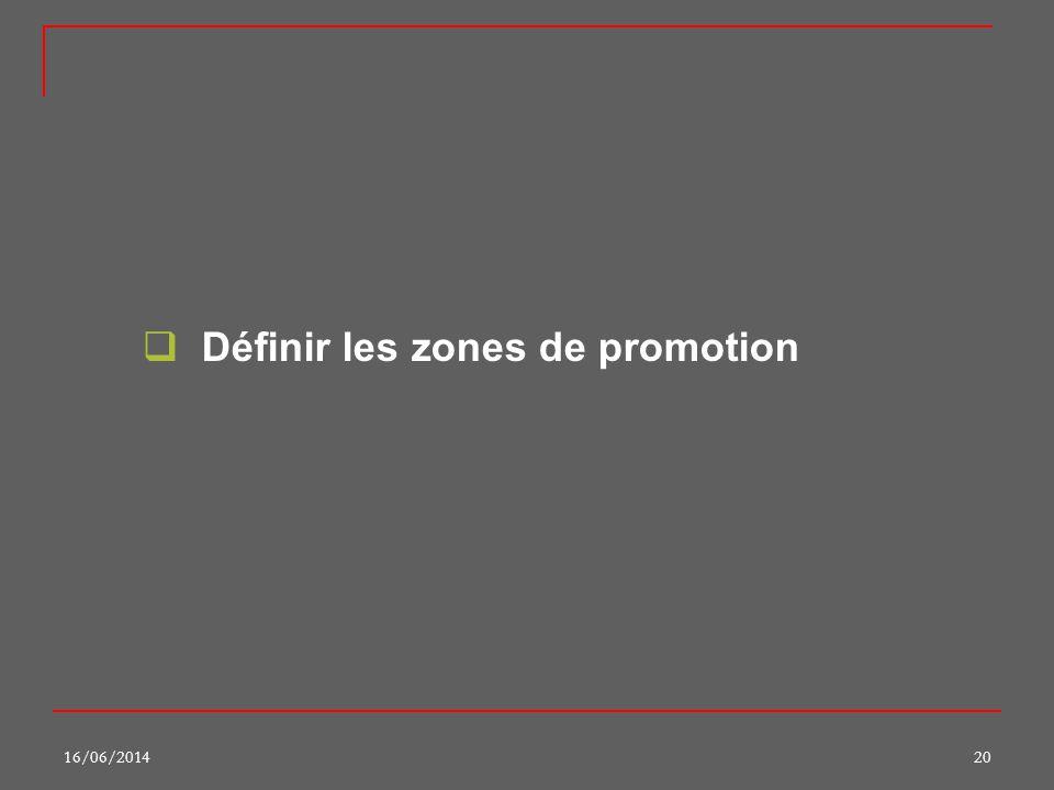 Définir les zones de promotion