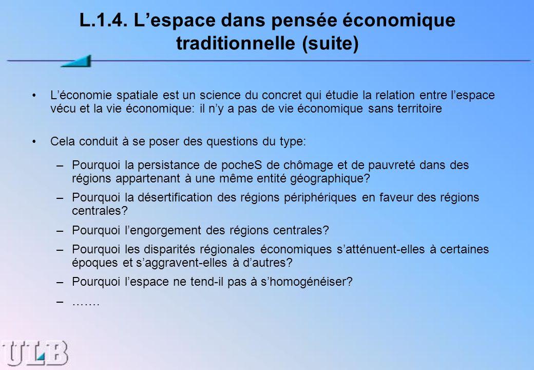 L.1.4. L'espace dans pensée économique traditionnelle (suite)