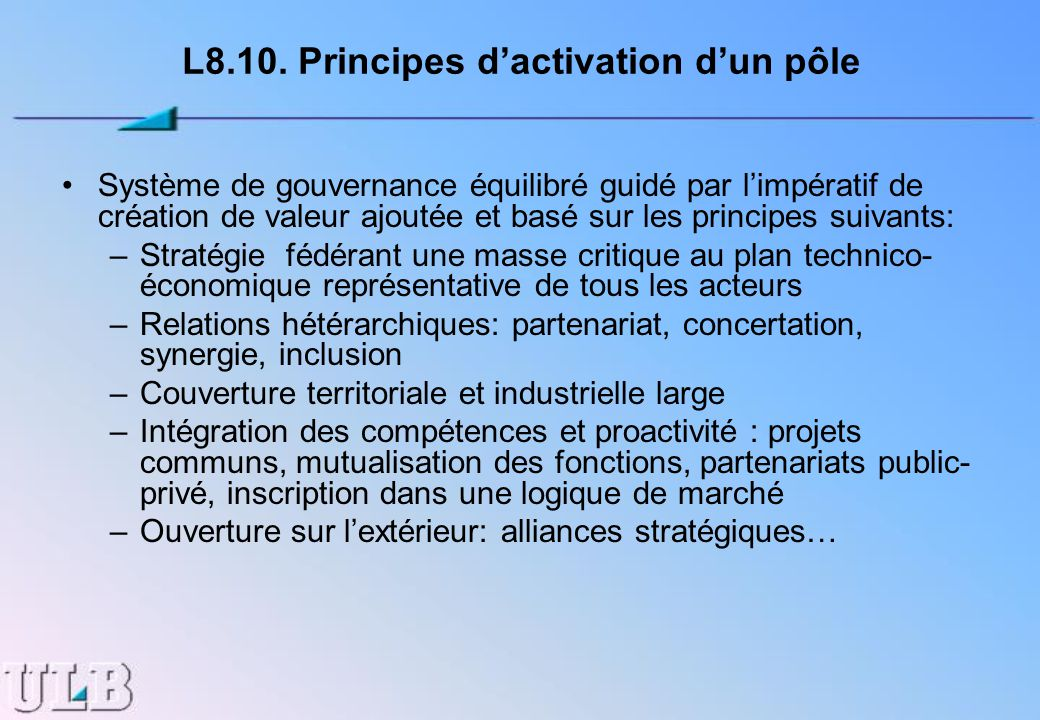 L8.10. Principes d'activation d'un pôle