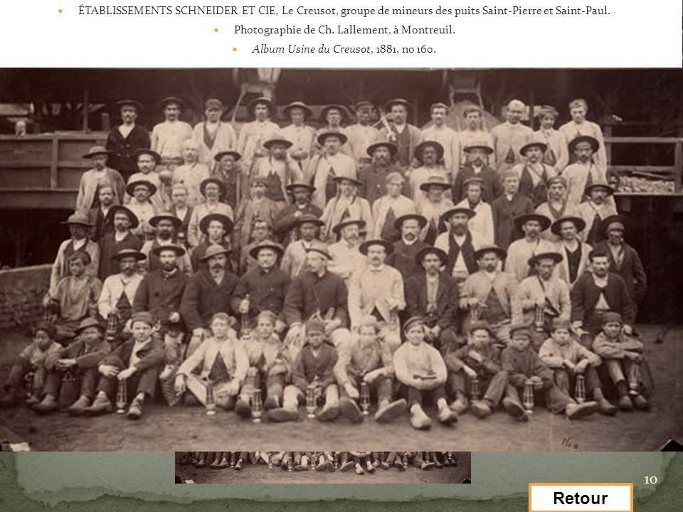 ÉTABLISSEMENTS SCHNEIDER ET CIE, Le Creusot, groupe de mineurs des puits Saint-Pierre et Saint-Paul.