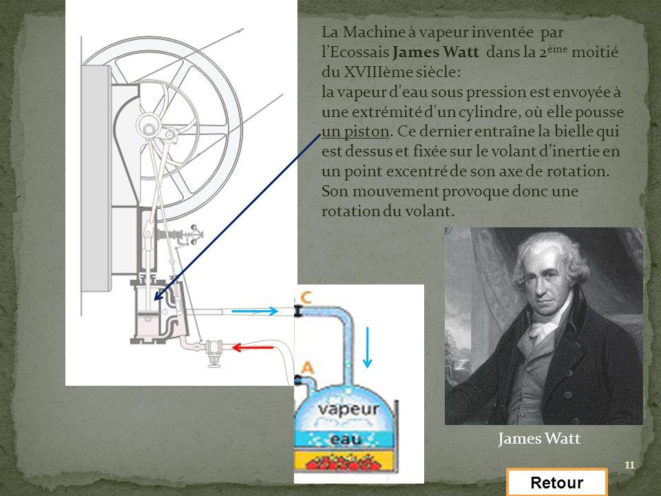 La Machine à vapeur inventée par l'Ecossais James Watt dans la 2ème moitié du XVIIIème siècle: