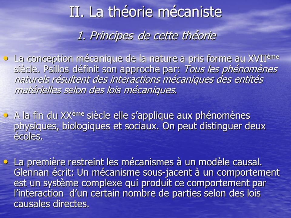 II. La théorie mécaniste 1. Principes de cette théorie