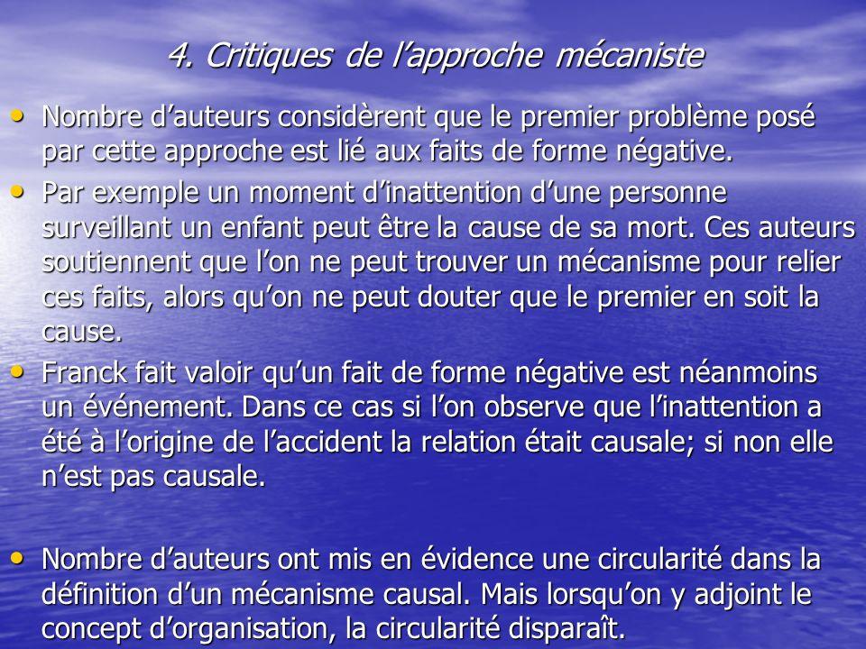 4. Critiques de l'approche mécaniste