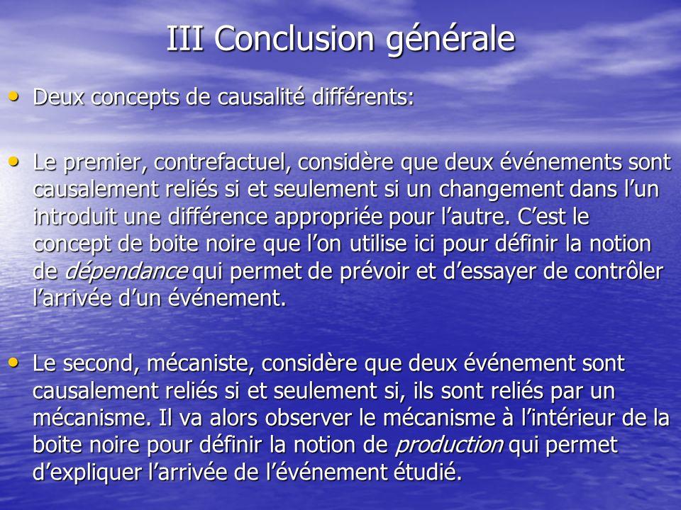 III Conclusion générale