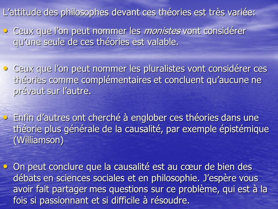 L'attitude des philosophes devant ces théories est très variée: