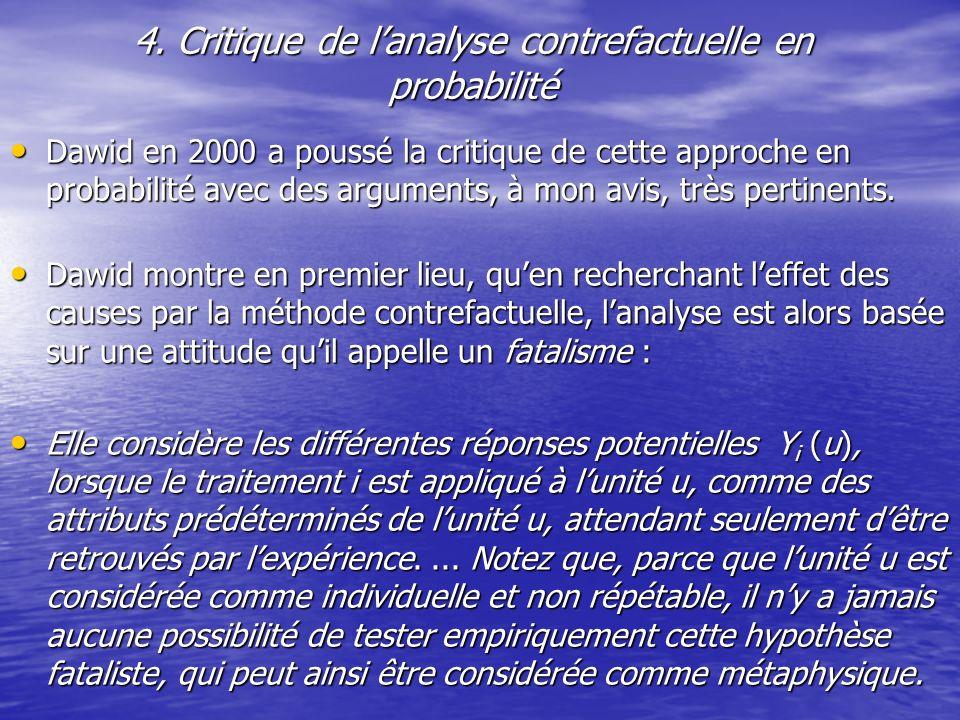 4. Critique de l'analyse contrefactuelle en probabilité