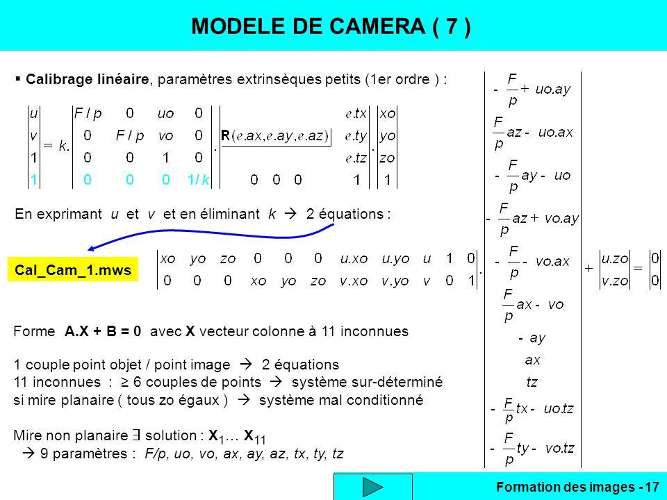 MODELE DE CAMERA ( 7 ) CALIBRAGE LINEAIRE
