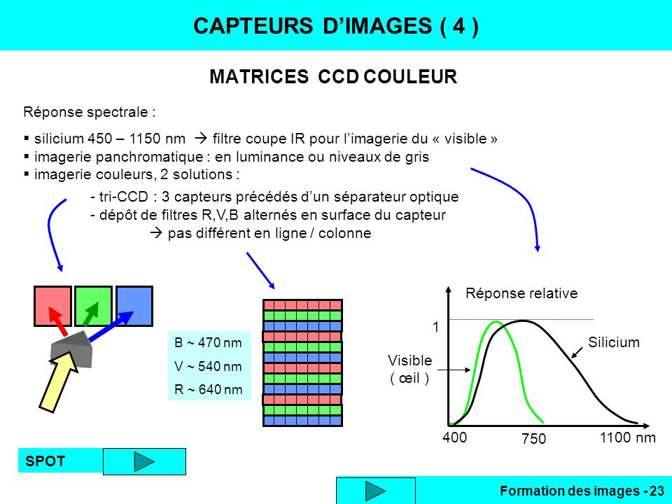 CAPTEURS D'IMAGES ( 4 ) MATRICES CCD COULEUR Réponse spectrale :