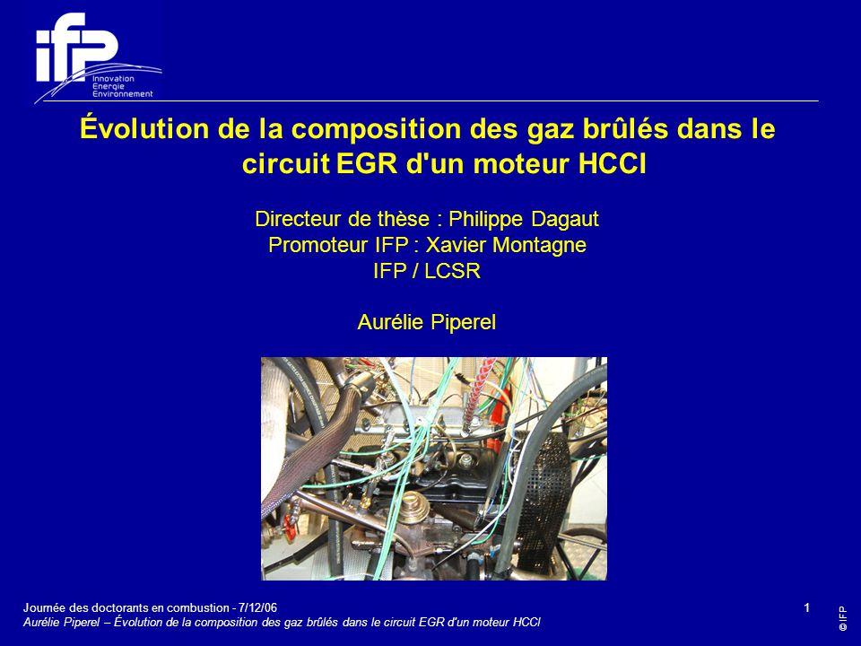 Évolution de la composition des gaz brûlés dans le circuit EGR d un moteur HCCI