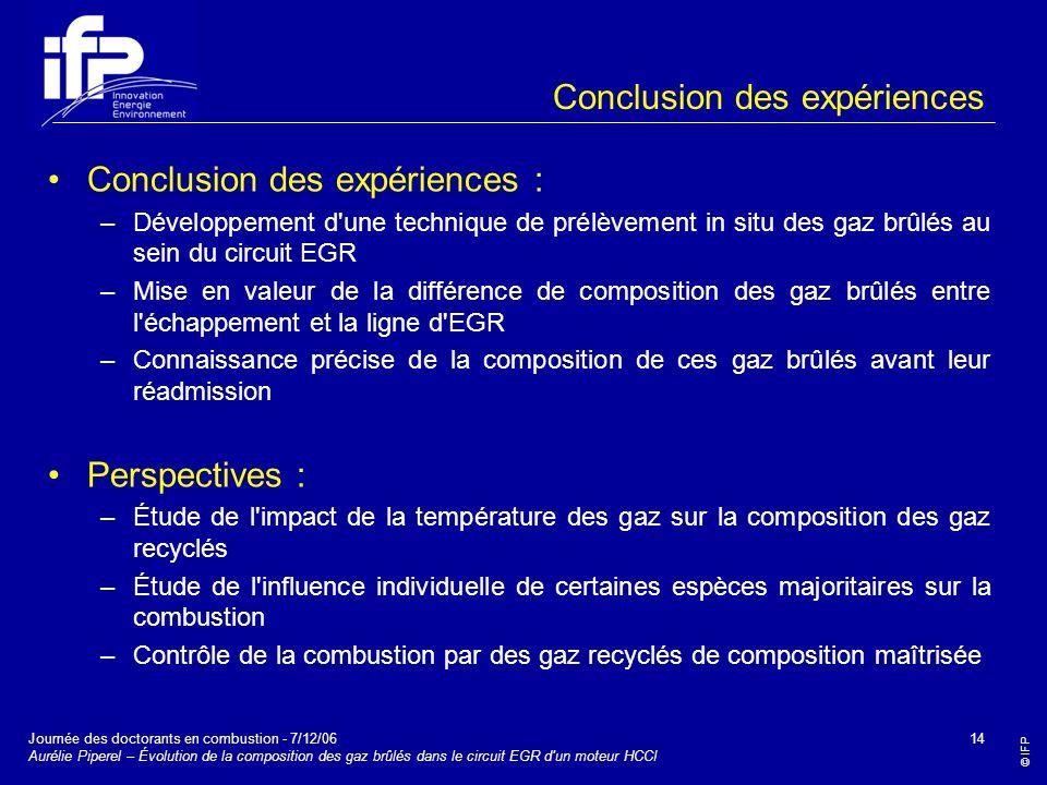 Conclusion des expériences
