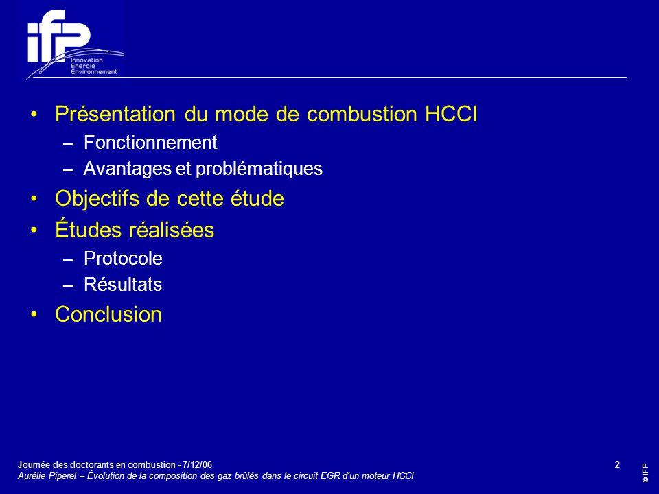Présentation du mode de combustion HCCI