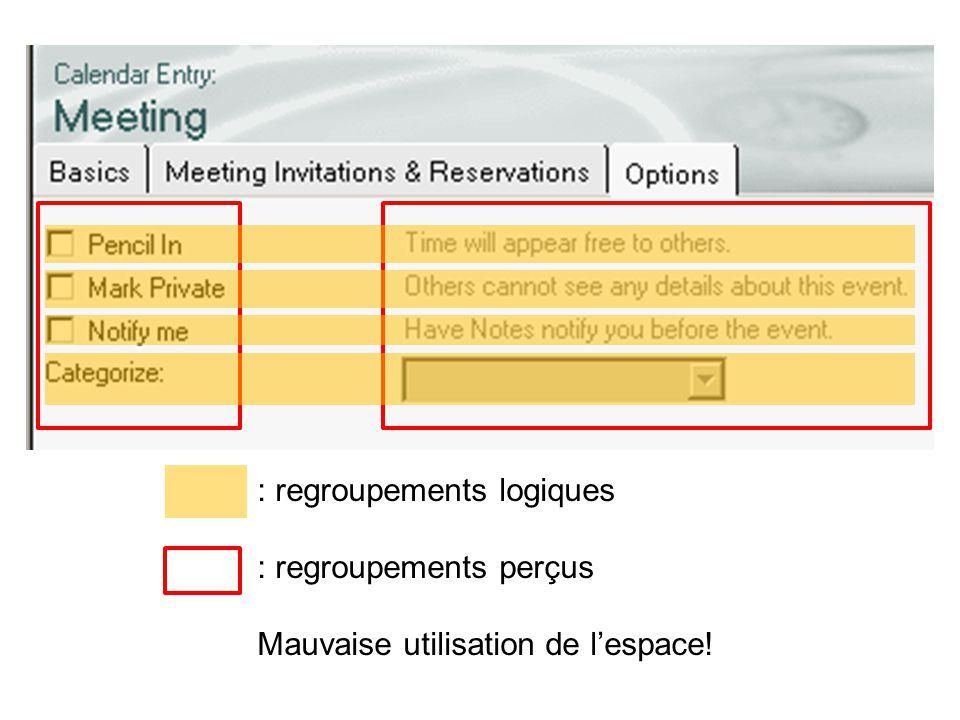 : regroupements logiques