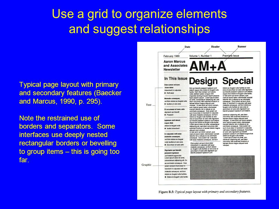 Use a grid to organize elements and suggest relationships