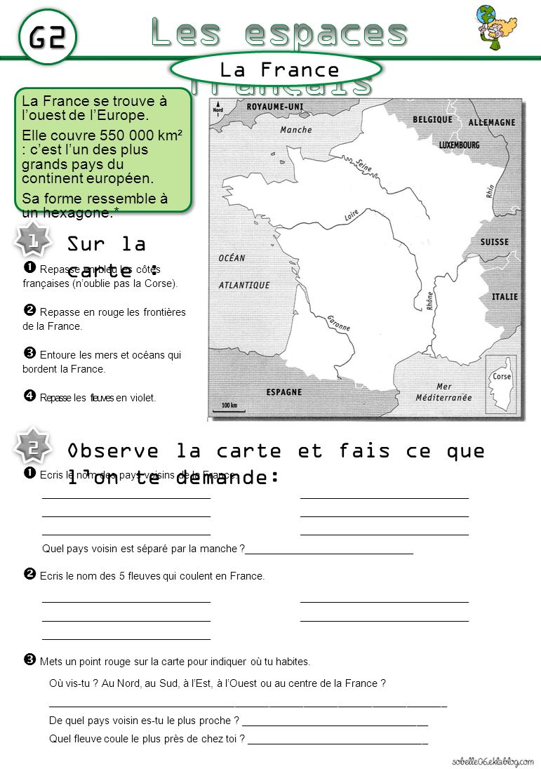 Les espaces français G2 La France Sur la carte :
