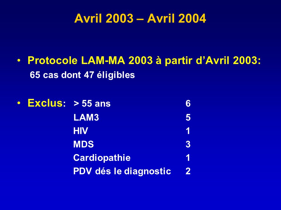 Avril 2003 – Avril 2004 Protocole LAM-MA 2003 à partir d'Avril 2003: