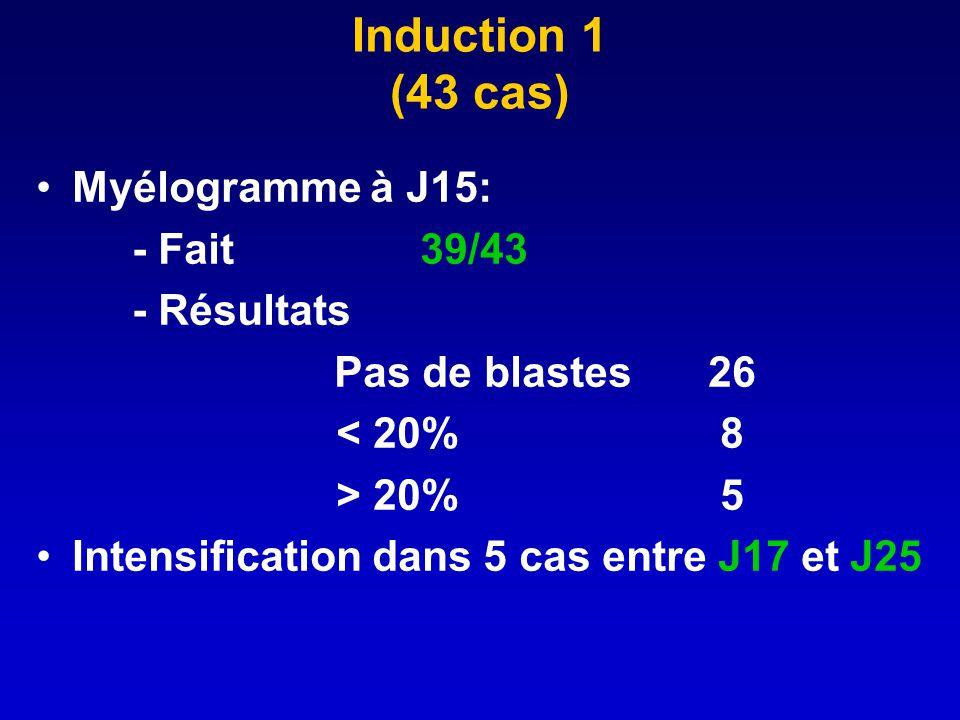 Induction 1 (43 cas) Myélogramme à J15: - Fait 39/43 - Résultats