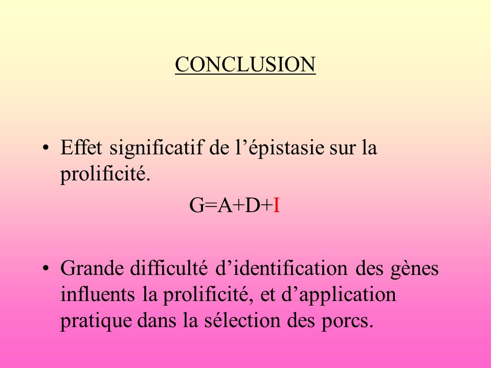 CONCLUSION Effet significatif de l'épistasie sur la prolificité. G=A+D+I.