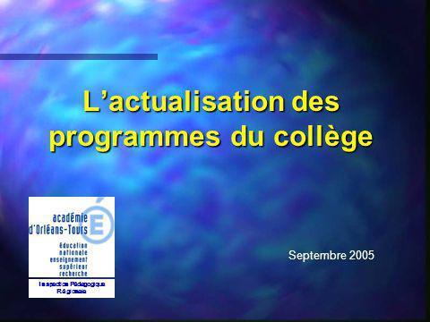 L'actualisation des programmes du collège