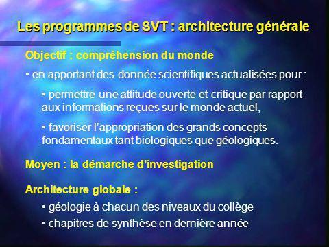 Les programmes de SVT : architecture générale