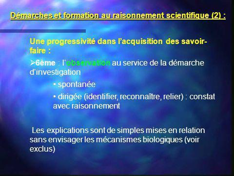 Démarches et formation au raisonnement scientifique (2) :