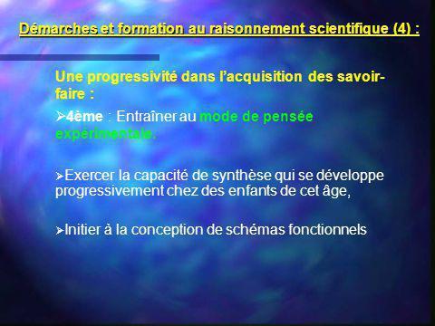 Démarches et formation au raisonnement scientifique (4) :
