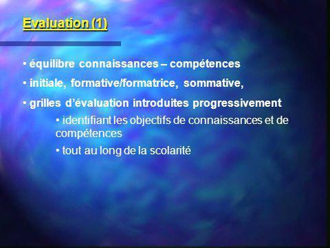 Evaluation (1) équilibre connaissances – compétences
