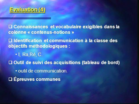 Evaluation (4) Connaissances et vocabulaire exigibles dans la colonne « contenus-notions »