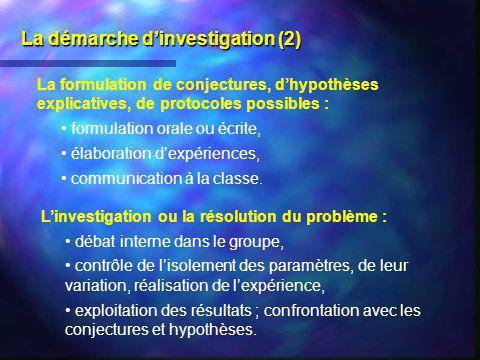 La démarche d'investigation (2)