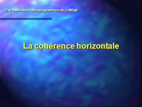La cohérence horizontale