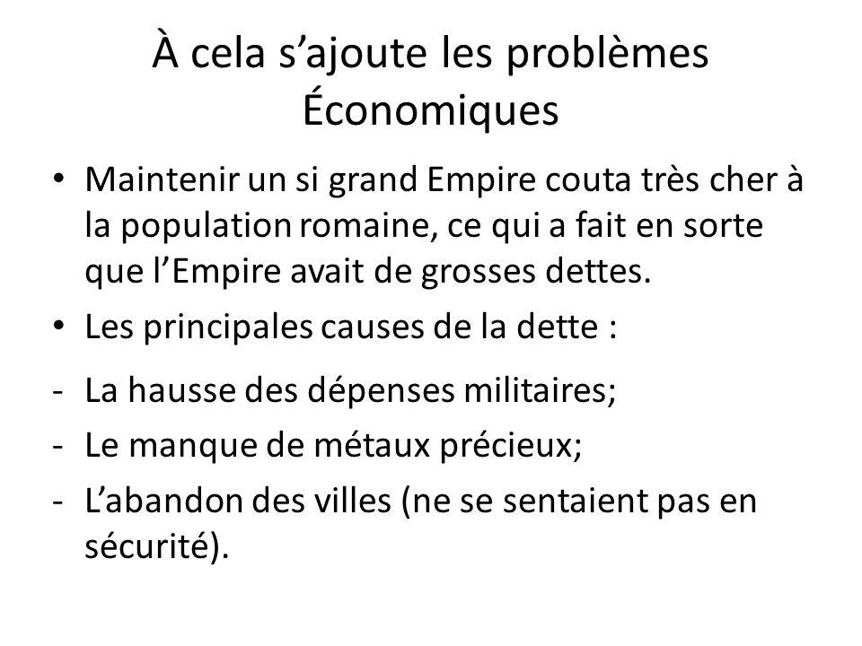À cela s'ajoute les problèmes Économiques
