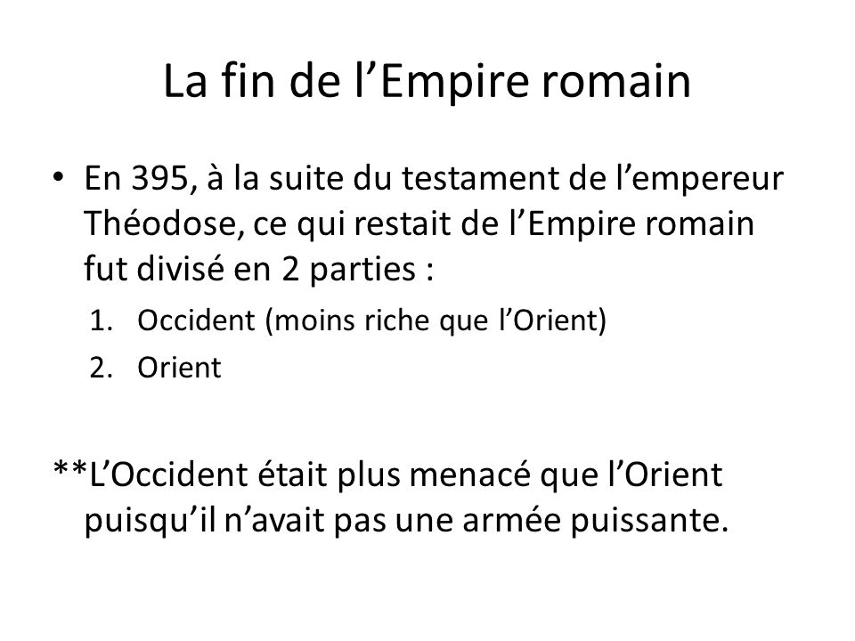 La fin de l'Empire romain