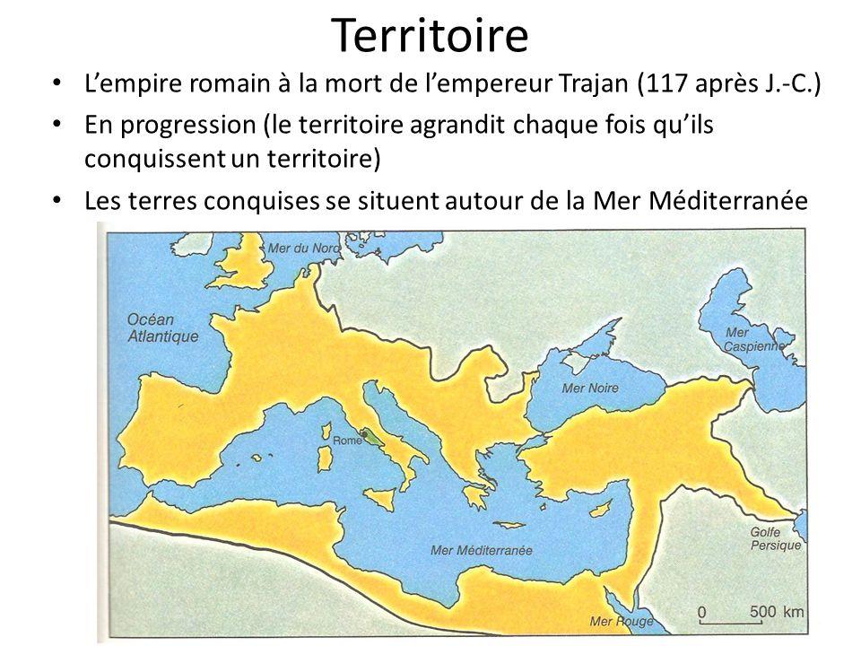Territoire L'empire romain à la mort de l'empereur Trajan (117 après J.-C.)