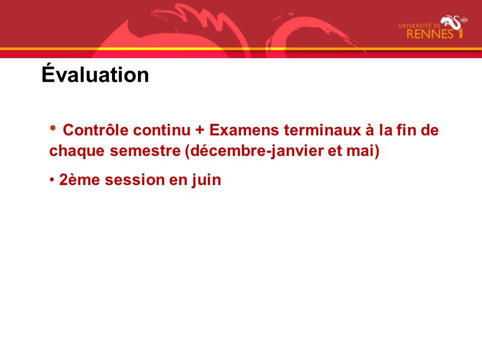 Évaluation Contrôle continu + Examens terminaux à la fin de chaque semestre (décembre-janvier et mai)
