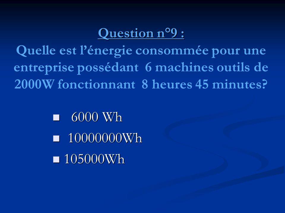 Question n°9 : Quelle est l'énergie consommée pour une entreprise possédant 6 machines outils de 2000W fonctionnant 8 heures 45 minutes