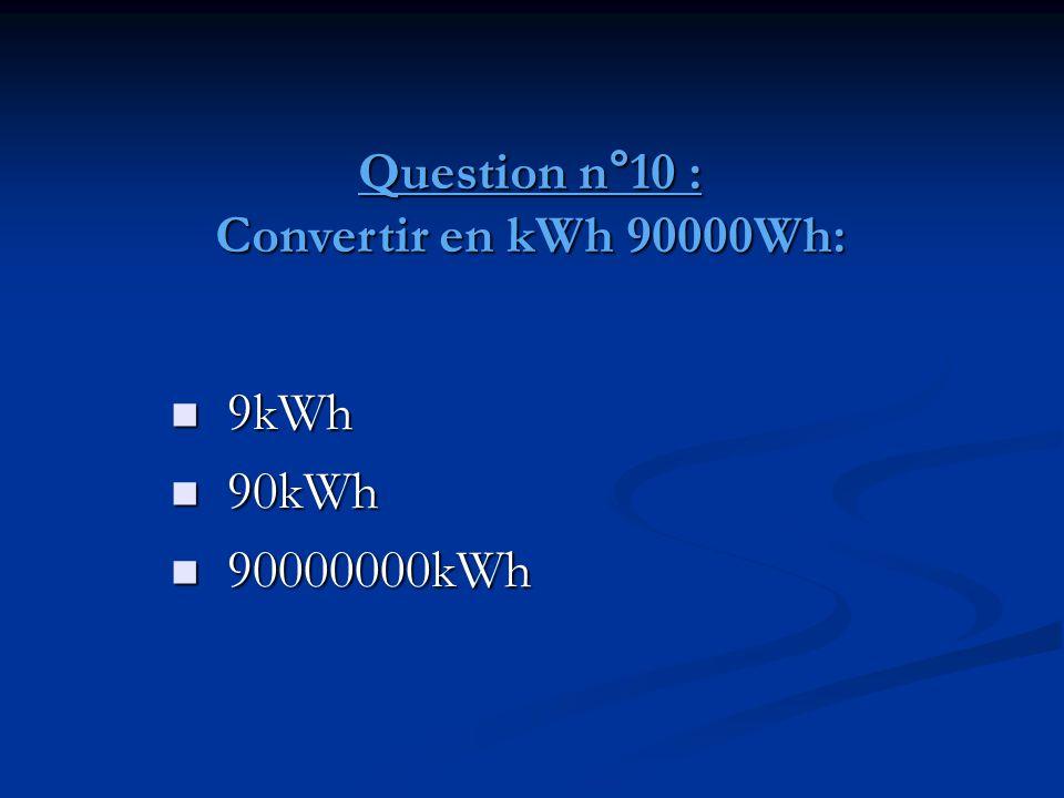 Question n°10 : Convertir en kWh 90000Wh: