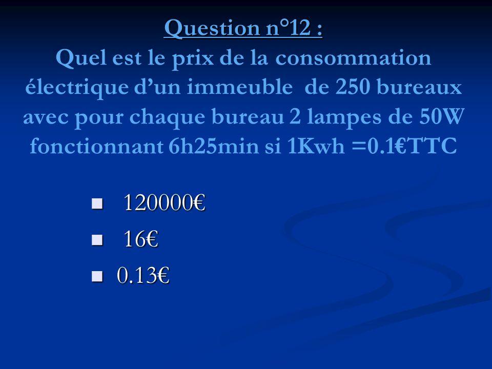 Question n°12 : Quel est le prix de la consommation électrique d'un immeuble de 250 bureaux avec pour chaque bureau 2 lampes de 50W fonctionnant 6h25min si 1Kwh =0.1€TTC