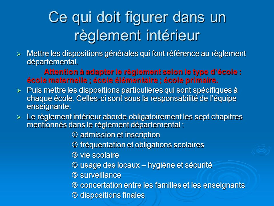 Le reglement interieur ppt video online t l charger for Reglement interieur ce