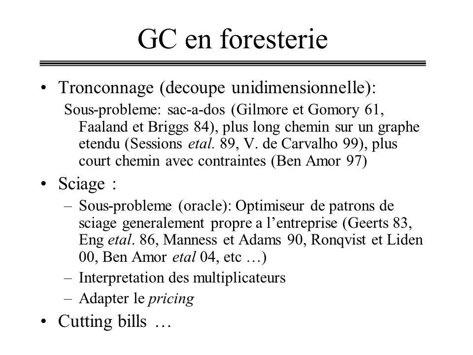 GC en foresterie Tronconnage (decoupe unidimensionnelle): Sciage :
