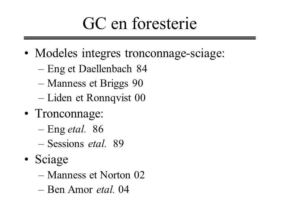 GC en foresterie Modeles integres tronconnage-sciage: Tronconnage:
