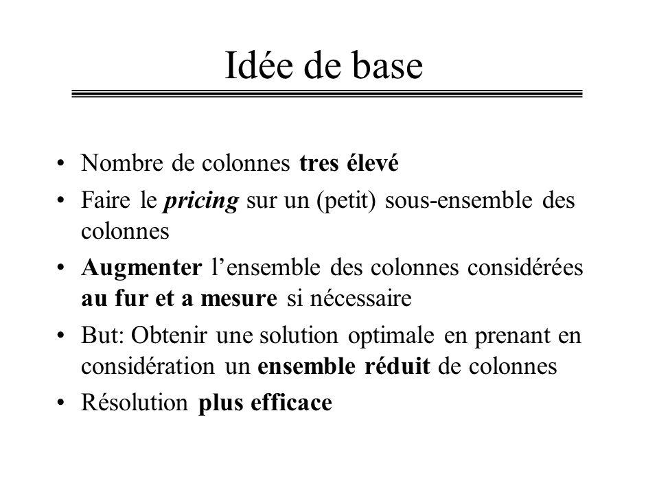 Idée de base Nombre de colonnes tres élevé