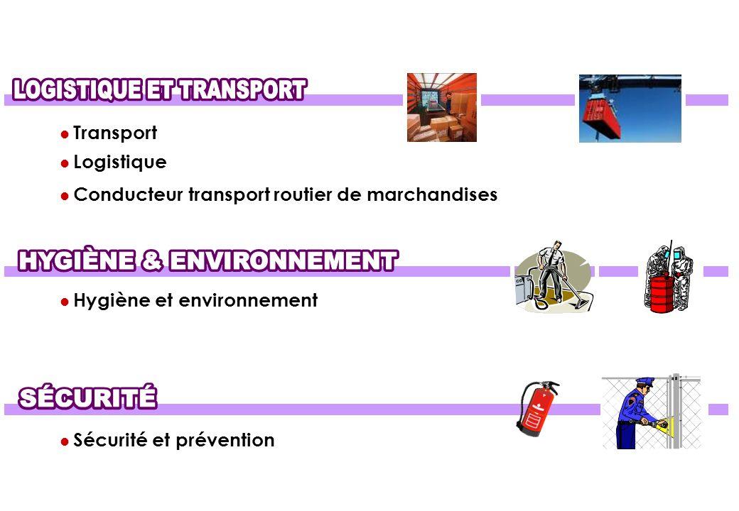 TRANSPORT - LOGISTIQUE - HYGIÈNE - PROPRETÉ - SÉCURITÉ
