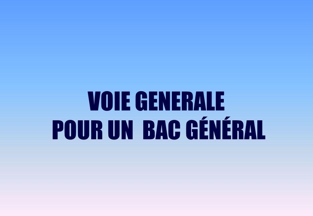 VOIE GENERALE POUR UN BAC GÉNÉRAL