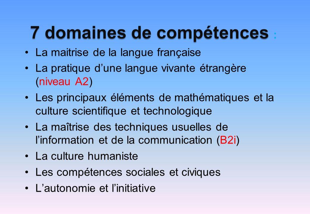 7 domaines de compétences :