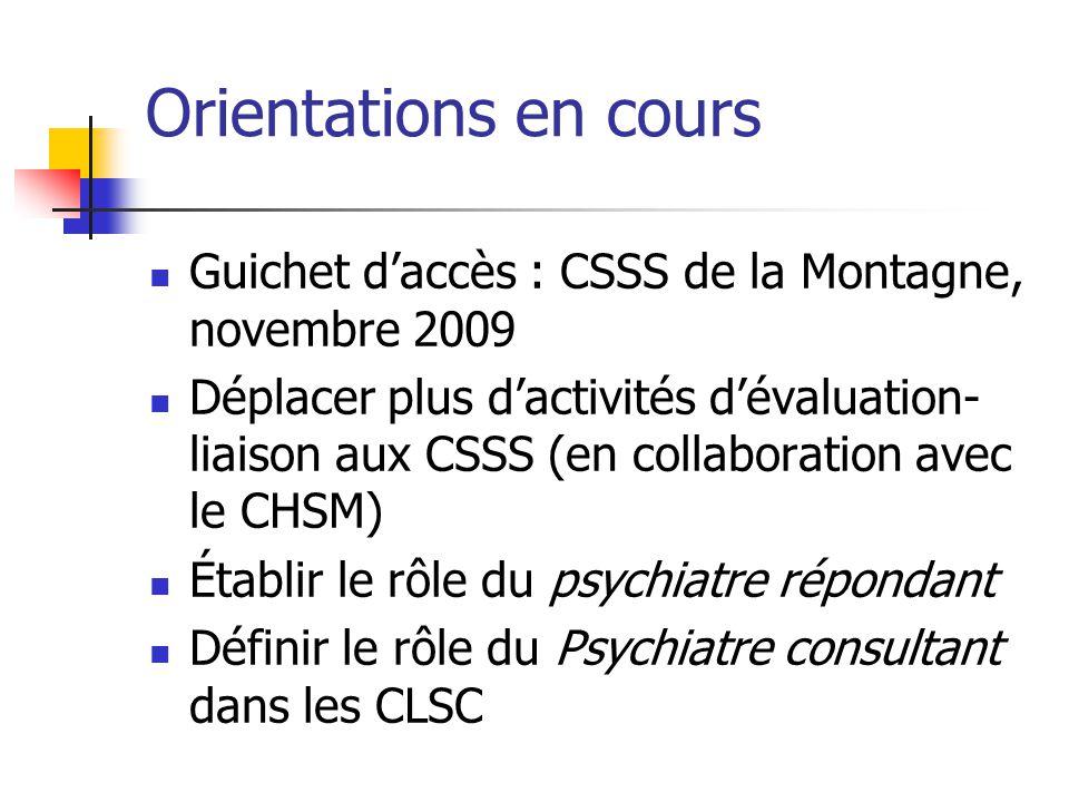 Orientations en cours Guichet d'accès : CSSS de la Montagne, novembre 2009.