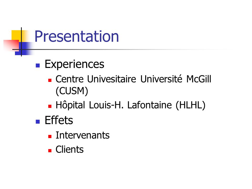 Presentation Experiences Effets